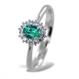 Anello con Smeraldo centrale piccolo e contorno di diamanti Gioielli Valenza - gallery