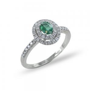Anello con Smeraldo ovale e doppio contorno di diamanti  - gallery