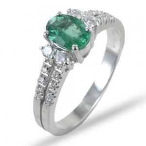 Anello con Smeraldo ovale e doppia fascia di diamanti sul gambo - gallery