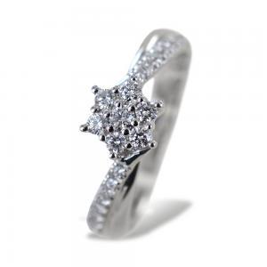 Anello con stella di diamanti di diamanti sul gambo Gioielli Valenza - gallery
