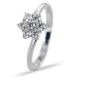 Anello con stella di diamanti e gambo sfalsato  - gallery
