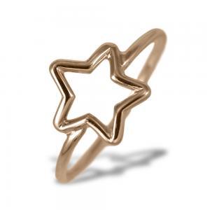 Anello con stella traforata in oro rosa - gallery