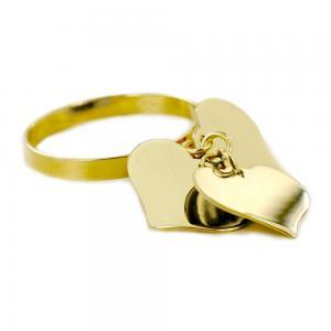 Anello con tre ciondoli cuore in oro giallo - gallery