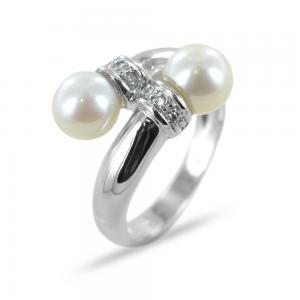 Anello contrarie di perle e diamanti - gallery