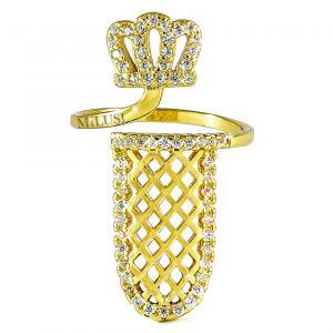 Anello copri unghia in argento e zirconi con corona - gallery