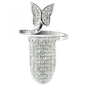 Anello copri unghia in argento e zirconi con farfalla - gallery