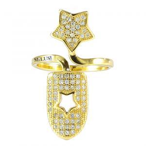 Anello copri unghia in argento e zirconi con stella - gallery