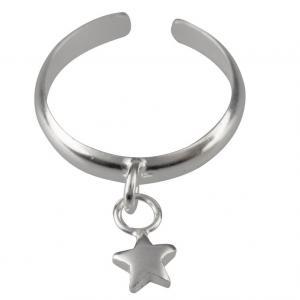 Anello da piede in argento con charm a Stella - gallery