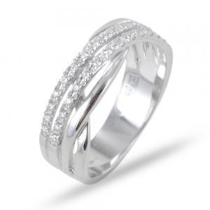 Anello doppia fascia di diamanti intreccio ct 0.19 G VS - gallery