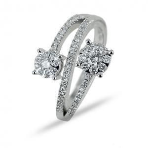 Anello effetto doppio solitario su fasce di diamanti Gioielli Valenza - gallery