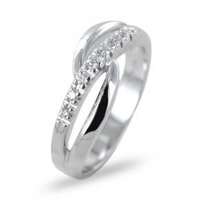 Anello fantasia a fascia di diamanti con intreccio  - gallery
