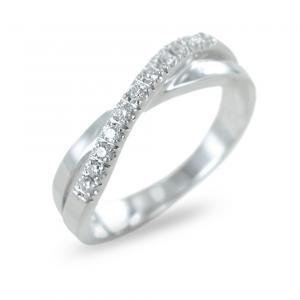 Anello fantasia con fascia diamanti su fascia in oro ct 0.08 - gallery