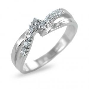 Anello fantasia con intreccio di diamanti su doppia fascia ct 0.10 - gallery