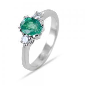 Anello fantasia Smeraldo da un carato e Diamanti - gallery