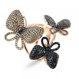 Anello farfalle in argento e zirconi GIOIELLI SAMUI - gallery