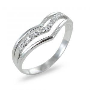 Anello fascia india in oro bianco con diamanti ct 0.06 - gallery