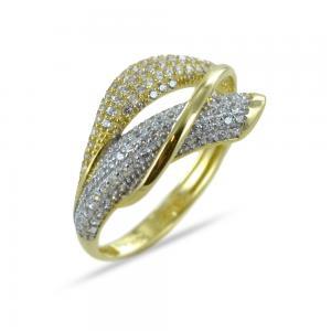 Anello fascia pave con zirconi in oro giallo effetto oro bicolore - gallery