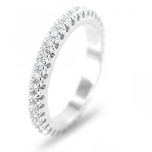 Anello Fede Eternity in oro bianco e diamanti ct 0.76 G VS - gallery