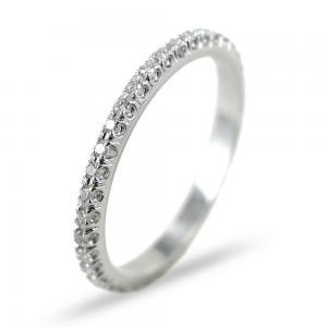 Anello Fede Eternity sottile in oro bianco e diamanti ct 0.21 G VS - gallery
