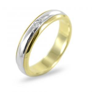 Anello fedina con diamante in oro bicolore - gallery