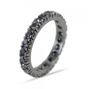 Anello fedina Eternity in oro e diamanti neri ct. 1,27 - gallery