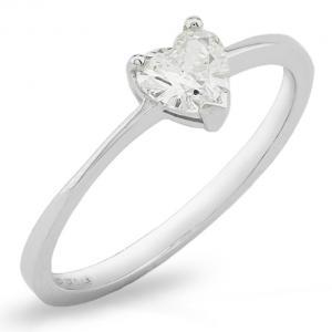 Anello in oro bianco con Diamante a Cuore carati 0.20 G  - gallery