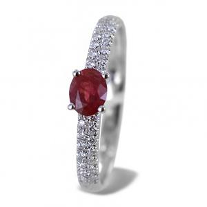 Anello in oro con Rubino 0.37 ct e diamanti sul gambo - Gioielli Valenza - gallery