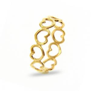 Anello in oro Giallo con cuori traforati  - gallery