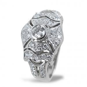 Anello Liberty in oro e diamanti - anello fantasia diamanti a pave - gallery
