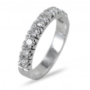 Anello mezza riviera Eternity in oro e diamanti ct 0.70 colore G - gallery