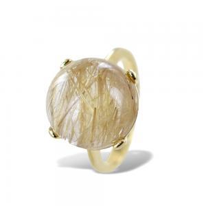Anello particolare con quarzo cabochon sferico e diamanti naturali - gallery
