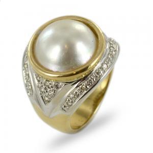 Anello in oro giallo e bianco con perla Mabe e diamanti - gallery