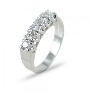 Anello Riviera a 5 diamanti in oro e diamanti ct 0.68 G - gallery