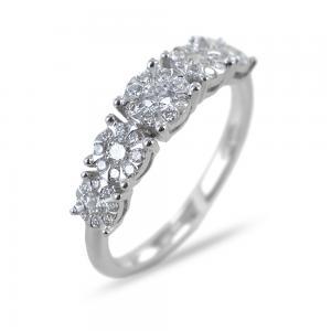Anello riviera a scalare con diamanti magic ct 0.47 G VS - gallery