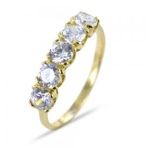 Anello riviera con zirconi in oro giallo - gallery
