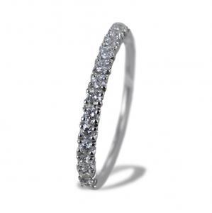 Anello riviera in oro bianco con diamanti ct 0.31 G - gallery