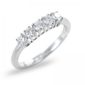 Anello Riviera in oro bianco con Diamanti ct 0.48 colore G  - gallery