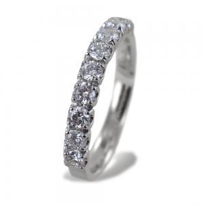 Anello riviera media in oro bianco con diamanti oltre mezzo carato - gallery