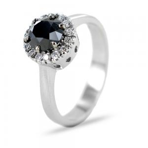 Anello Rosetta con Diamante nero 1 carato e diamanti - gallery