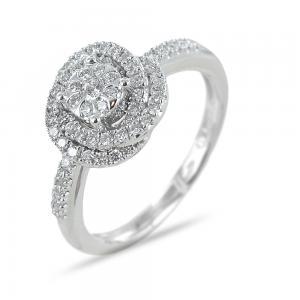 Anello Salvini Daphne con diamanti effetto solitario con contorno di diamanti - gallery