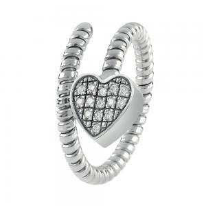 Anello Semirigido con ciondolo cuore Salvini in oro bianco e diamante MINIMAL POP 20084326 - gallery