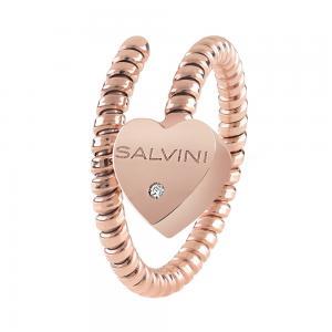 Anello Semirigido con ciondolo cuore Salvini in oro rosa e diamante MINIMAL POP 20084321 - gallery