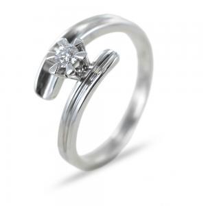Anello solitario con diamante 0.15 carati G color - gallery