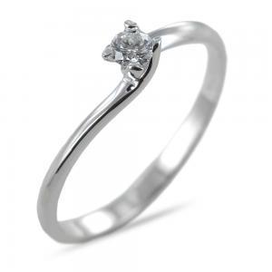 Anello solitario con diamante ct 0.09 G VS valentine - gallery