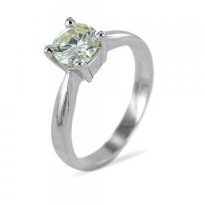 Anello solitario con diamante da quasi un carato colore J - gallery