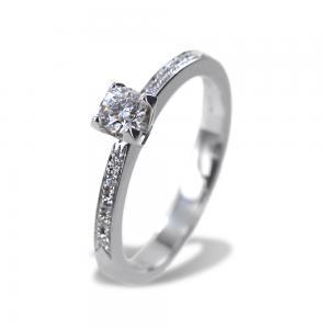 Anello Solitario con Diamante e diamanti sul gambo colore E  - gallery
