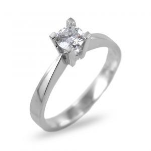 Anello solitario con incastonatura alta diamante ct 0.34 G VS - gallery