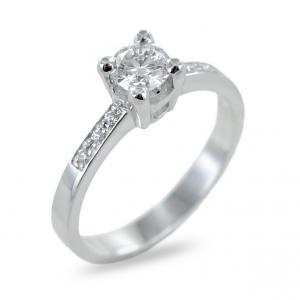 Anello solitario con pave di diamanti sul gambo 0.40 ct - gallery