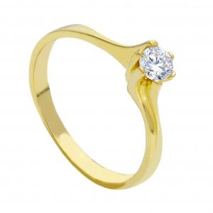 Anello solitario con zircone in oro giallo - gallery