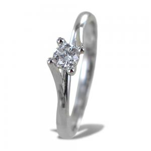 Anello solitario medio con diamante montatura Valentine intreccio 0.22 ct - gallery
